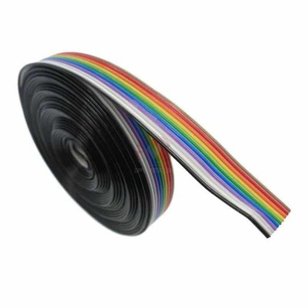 חוט חשמל כבל-סרט מלופף בצבעי הקשת / Rainbow Ribbon Cable wire, מדויק. -0