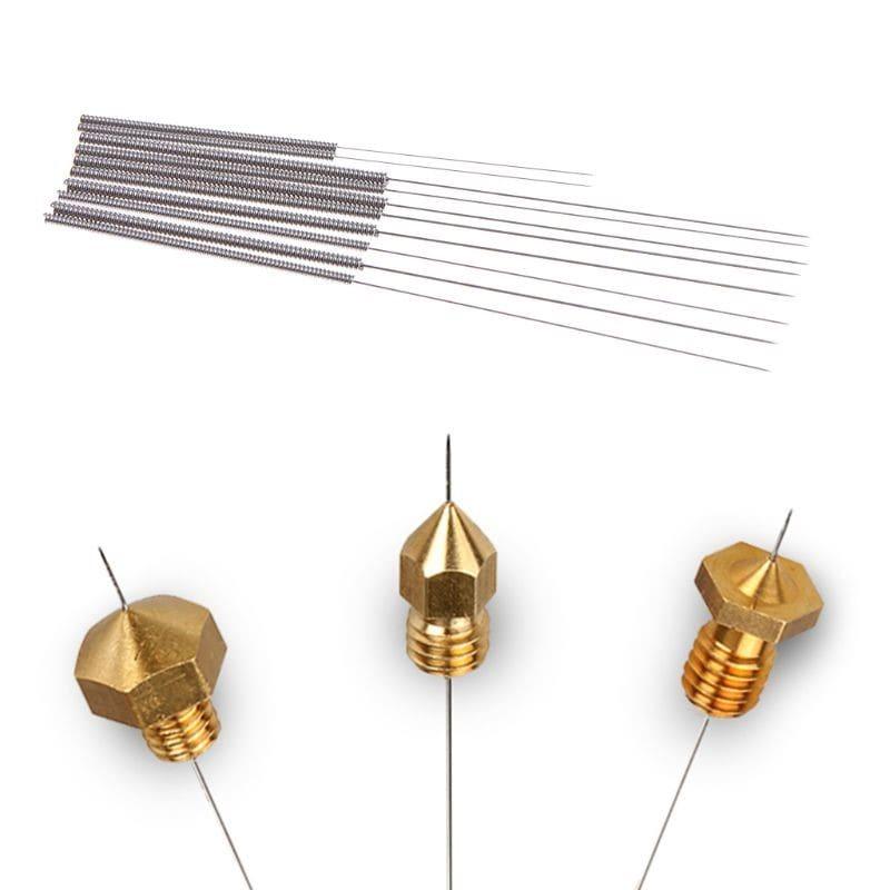 10 יחידות של כלי העשוי מפלדת אל-חלד איכותית לניקוי חור יציאת הפילמנט במדפסת תלת מימד בגדלים שונים, במחיר מצוין!