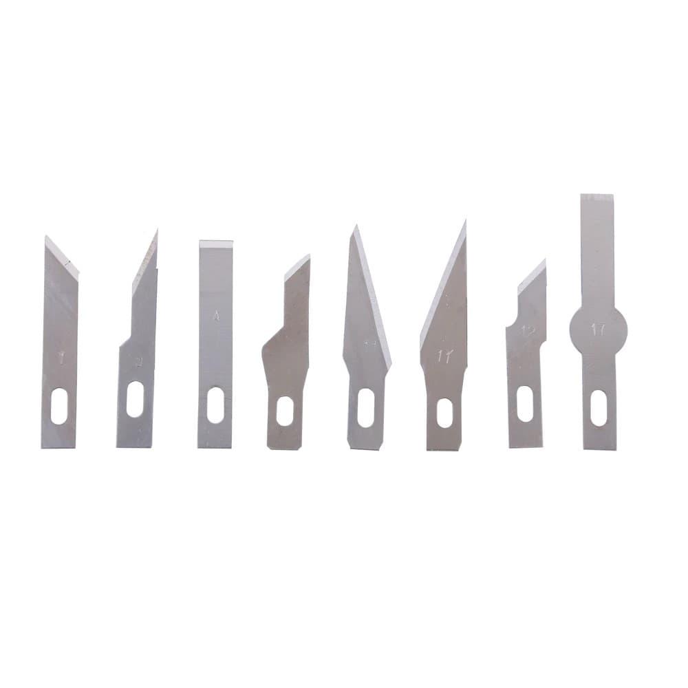 """סכין חזקה, חדה ודקה לחיתוך מדויק במיוחד של נייר, קרטון וחומרים נוספים, מכילה עוד 9 להבי ראש מתחלפים (10 ראשים סה""""כ)."""