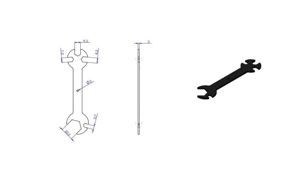 מפתח ברגים שימושי במיוחד, חמש באחד לשימושים מרובים המיועד לחלקי מדפסת תלת מימד אך יכול להתאים גם לשימושים אחרים.