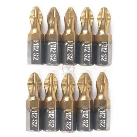 זוג ביטים מצופים טיטניום Screwdriver Bits Titanium Coated(ראשים למברגה) מתאים לתיאור, נוח לשימוש. 25 ממ,-2173