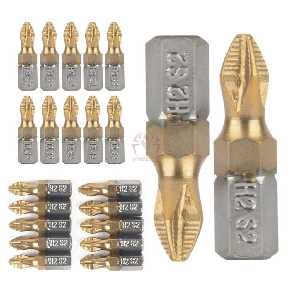 זוג ביטים מצופים טיטניום Screwdriver Bits Titanium Coated(ראשים למברגה) מתאים לתיאור, נוח לשימוש. 25 ממ,-0