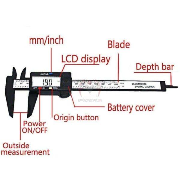 קליבר דיגיטלי Digital Caliber(מד זחיח דיגיטאלי) מודד במדויק, נוח לשימוש. טווח מדידה: 0-150-2799