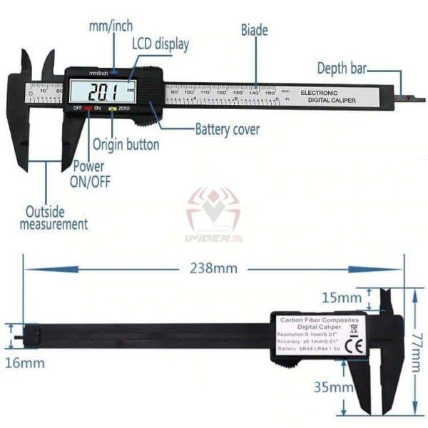 קליבר דיגיטלי Digital Caliber(מד זחיח דיגיטאלי) מודד במדויק, נוח לשימוש. טווח מדידה: 0-150-2805