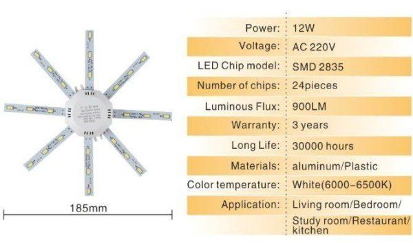 מנורת לדים חזקה וקומפקטית דגם תמנון Octopus Led בצבע לבן-2675