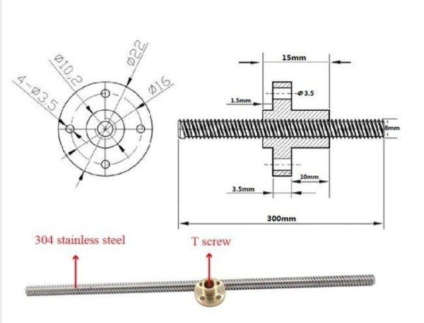 """מוט ציר Z מנירוסטה קוטר 8ממ אורך המוט 40ס"""" להחלפה למדפסת -2679"""