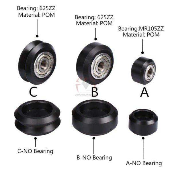 זוג גלגלי גומי-כוללים מיסב למדפסות תלת מימד-2886