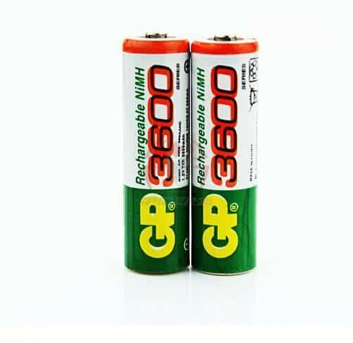 2 סוללות נטענת עוצמתיות ביותר AA 3600mAh מהמותג האיכותי GP-0
