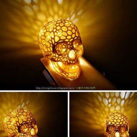 גולגולת בצורת רשת - מנורה Skull lamp - קובץ STL להורדה והדפסה בתלת מימד-4072