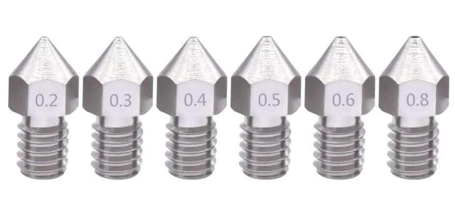 """10 ראשי הדפסה איכותיים J-Head למדפסת תלת מימד המגיעים בגדלים שונים בין 0.3 ל0.5 מ""""מ."""