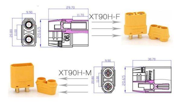 מחבר זכר-נקבה 90-H עם כיסוי במיוחד עבור סוללת RC Lipo-4364