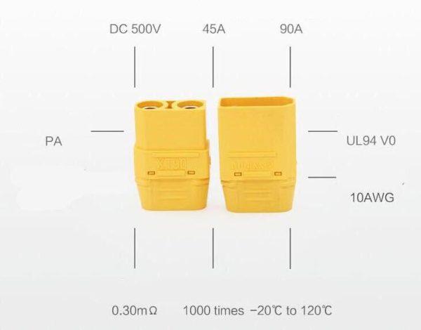 מחבר זכר-נקבה 90-H עם כיסוי במיוחד עבור סוללת RC Lipo-4360