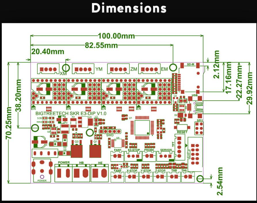 סכמה/שרטוט של בקר למדפסת חוטים וחיבורים אנדר 3