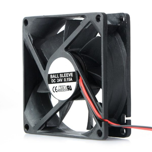 2 Pin DC 24V 80x80x25mm 8025 Dual Ball Motor Cooling Fan-4557